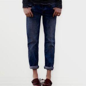 American Eagle Dark Wash Boy Fit Jeans, size 6